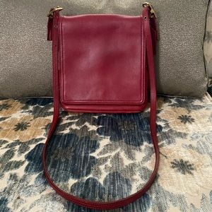 Coach Red Leather Vintage Messenger Flap Crossbody